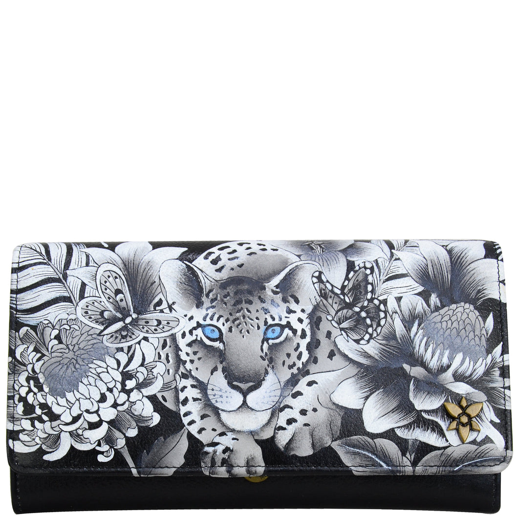 Anuschka style 1112. Hand painted leather Accordion flap wallet. Cleopatra's Leopard painting in black grey and silver color. Featuring RFID blocking and many credit card slots.