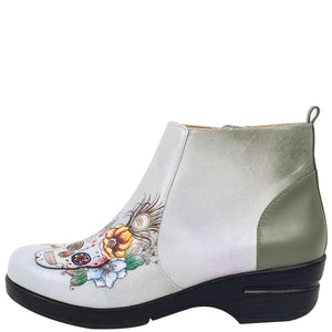 RACHEL PRINTED LEATHER CLOG BOOTIE - 4224