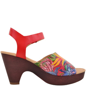 KERRI PRINTED LEATHER SLING BACK SANDAL - 4236