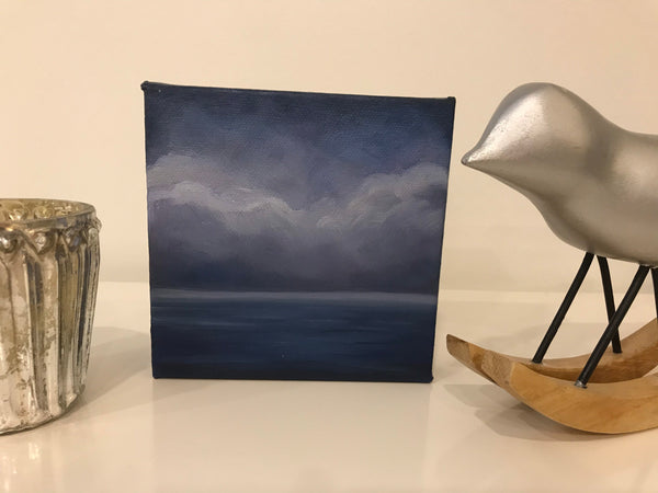 "Small ocean cloudscape painting- ""Dark Little Landscape"" - small original oil painting (5x5"")"