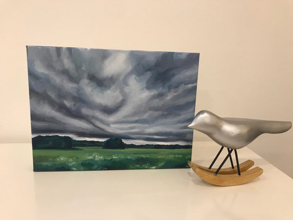 "Original landscape oil painting- ""July Storm"" - oil on canvas (9x12"")"