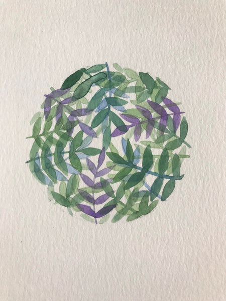 "Original botanical watercolour painting- ""Circle of ferns"" watercolour on paper (5x7"")"
