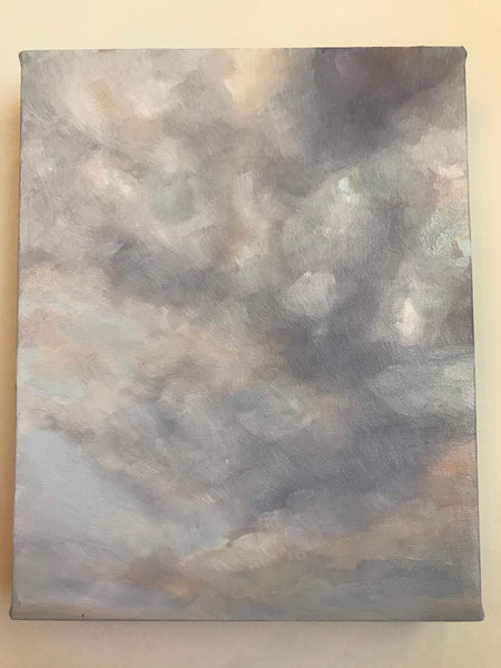 "Purple clouds painting - Cloud study ""Shadows/Important work""- original oil on canvas (8x10"")"