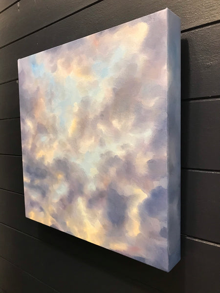 "Cloudscape original oil painting- ""Night and Day."" - oil on canvas cloud painting- (12x12"")"