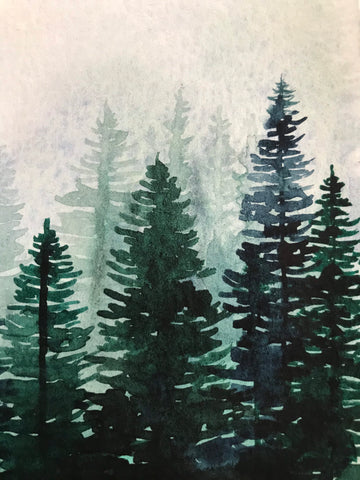 "Watercolour pine trees- Forest landscape- small original painting (5x7"") watercolour on paper"