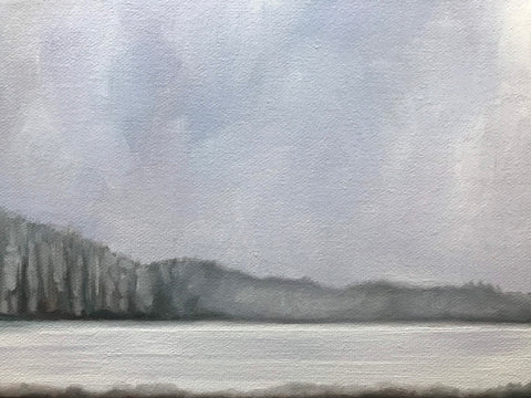 "Original winter landscape painting- ""Eventually.""- oil on canvas (6x8"")"