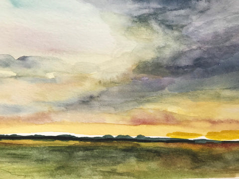 "Little summer landscape- original watercolour painting- ""Summer Sky.""- watercolour and ink on paper (5x7"")"