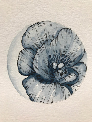 "Blue floral circle- Small original watercolour and ink painting- ""Blue petals.""- Watercolour Peony (4x6"")"