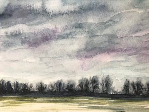 "Little winter landscape- original watercolour painting- ""Winter Sky.""- watercolour and ink on paper (5x7"")"