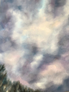 "Cloudscape oil painting, ""Treeline."" Oil on gallery style canvas, (9x12"")"