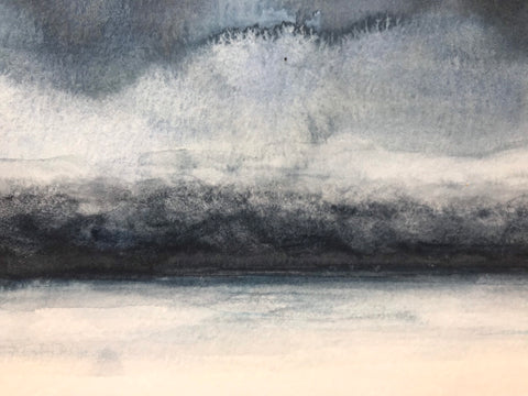 "Small winter landscape painting- ""Winter, Dusk."" - original abstract watercolour landscape- watercolour on paper (4x6"")"