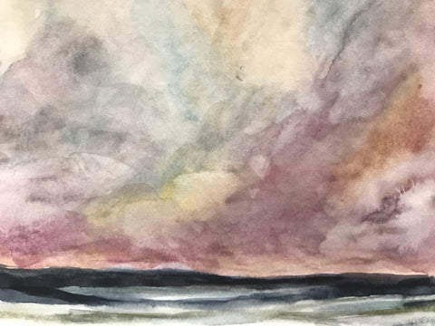 "Original watercolour landscape painting- ""Rolling Out/Pink Sky."" Watercolour on Paper. (5x7"")"