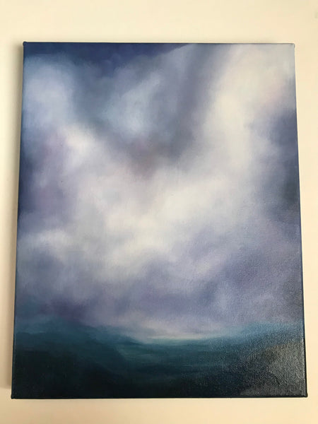 "Original landscape painting - ""Time"" -  Blue hazy hills with clouds- oil on canvas, (11x14"")"
