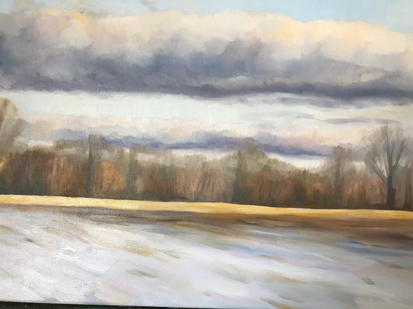 "Snowy landscape - ""Winter Corn Field."" - Oil on Canvas (14x18"")"