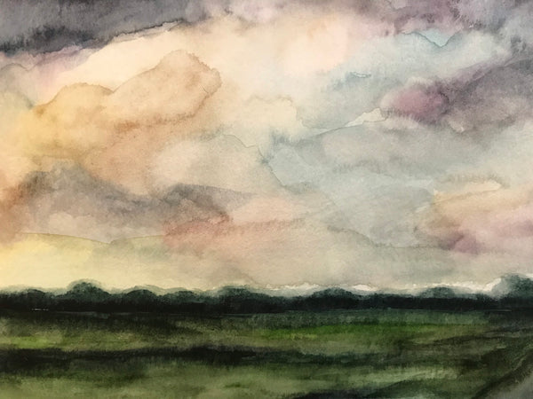 "Warm summer landscape- ""August Sideroad."" - original watercolour on paper (5x7"")"