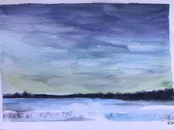 "Winter watercolour landscape- ""February First""- watercolour on paper (5x7"")"