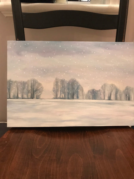 "Snowy winter landscape- ""January Snow."" - original oil painting on maple panel - (12x18"")"