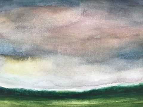 "Summery abstracted watercolour landscape- ""Summer Haze."" - Watercolour on paper- (5x7"")"