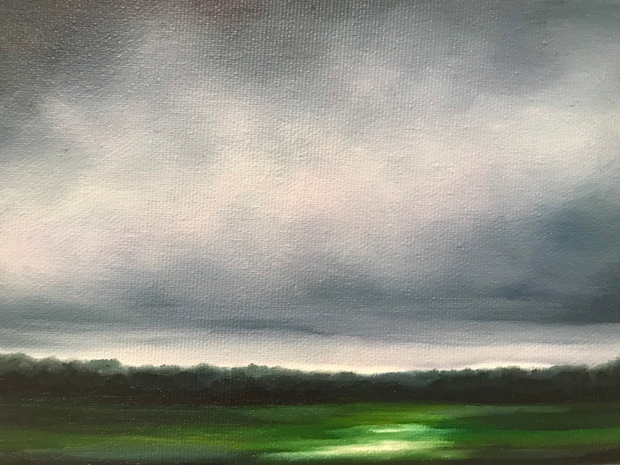 "Stormy little landscape- ""Source of Light."" - Oil on Canvas (5x7"")"