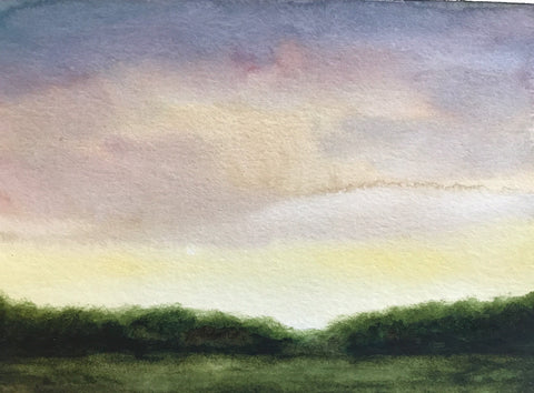 "Summery abstracted landscape- ""Summer Light."" - watercolour on paper- 5x7"""