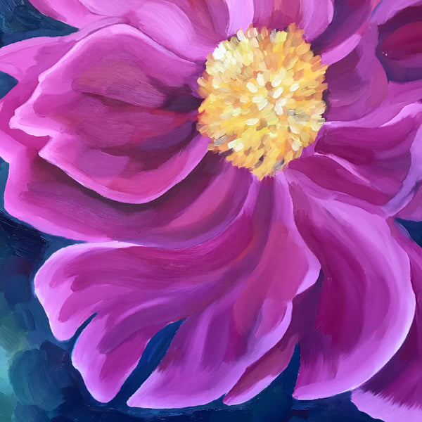 "Floral oil painting on wood panel- ""June Peony.""- oil on cradled maple panel- (16x16"")"