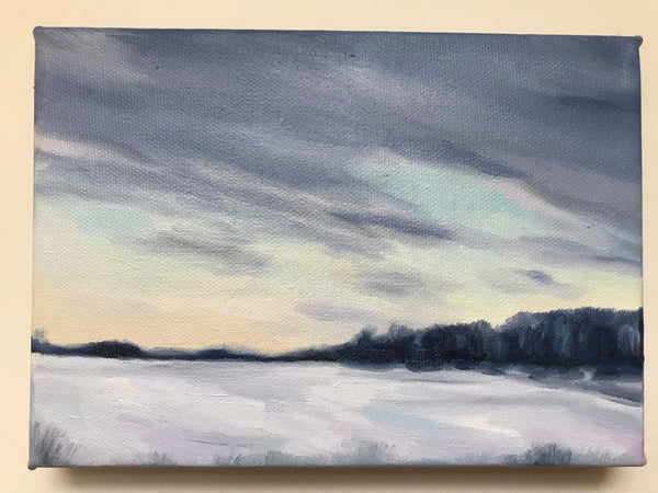 "Small winter landscape- ""Soft Start."" - snowy pastel painting- Oil on Canvas (5x7"")"