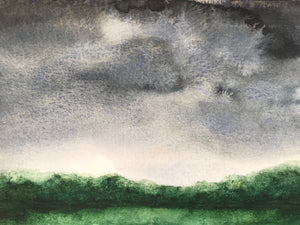 "Dark and moody watercolour landscape- ""Stormy sky in July."" Watercolour on paper (5X7"")"