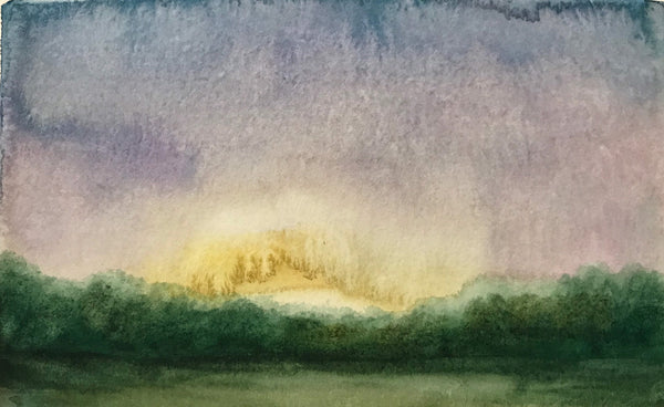 "Soft summer watercolour landscape - ""Blissful."" Watercolour on paper (4x6"")"