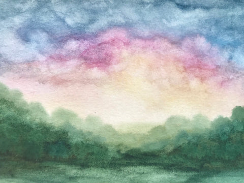 "Colourful summer watercolour landscape- ""Hiding the Light""- watercolour on paper (5x7"")"