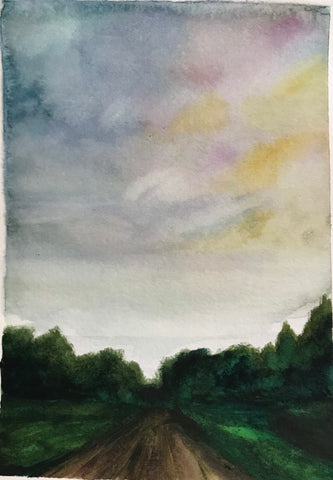 "Original watercolour landscape- ""Summer Sideroad""- watercolour on paper (5x7"")"