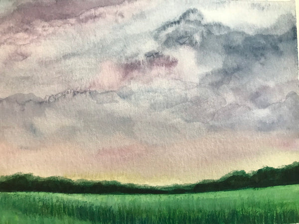 "Soft and delicate original watercolour landscape- ""Soft Clouds/In the Grasses.""- Watercolour on paper (5x7"")"