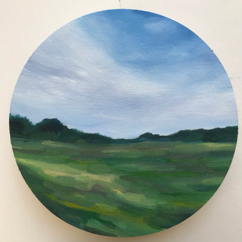 "Round landscape oil painting - ""Blue Sky"" - oil on 6"" round birch panel"