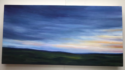 "Serene summer landscape- ""A Year""- Oil on maple panel (12x24"")"