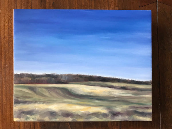 "Spring landscape painting- ""The Ground Walks""- Oil on birch panel- (8x10"")"