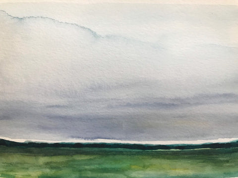 "Watercolour landscape study- ""Of course we knew"" -watercolour on paper (5x7"")"