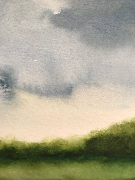 "Stormy watercolour landscape- ""Mossy Green""- watercolour on paper (5x7"")"