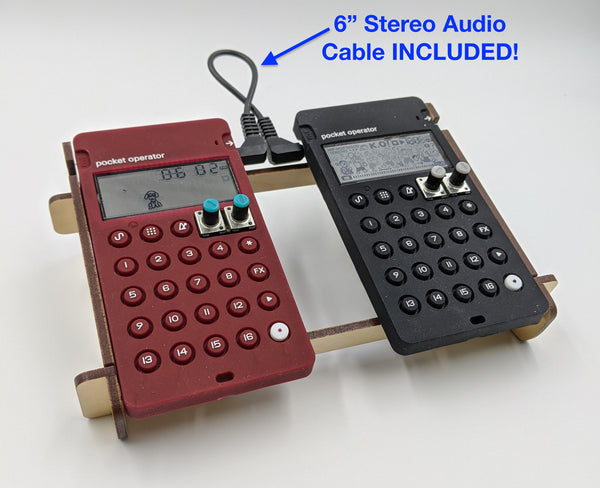"Pocket Operator Double Rack with Cable - Angled Stand holds any TWO Teenage Engineering PO models - INCLUDES 6"" Connector Cable!"