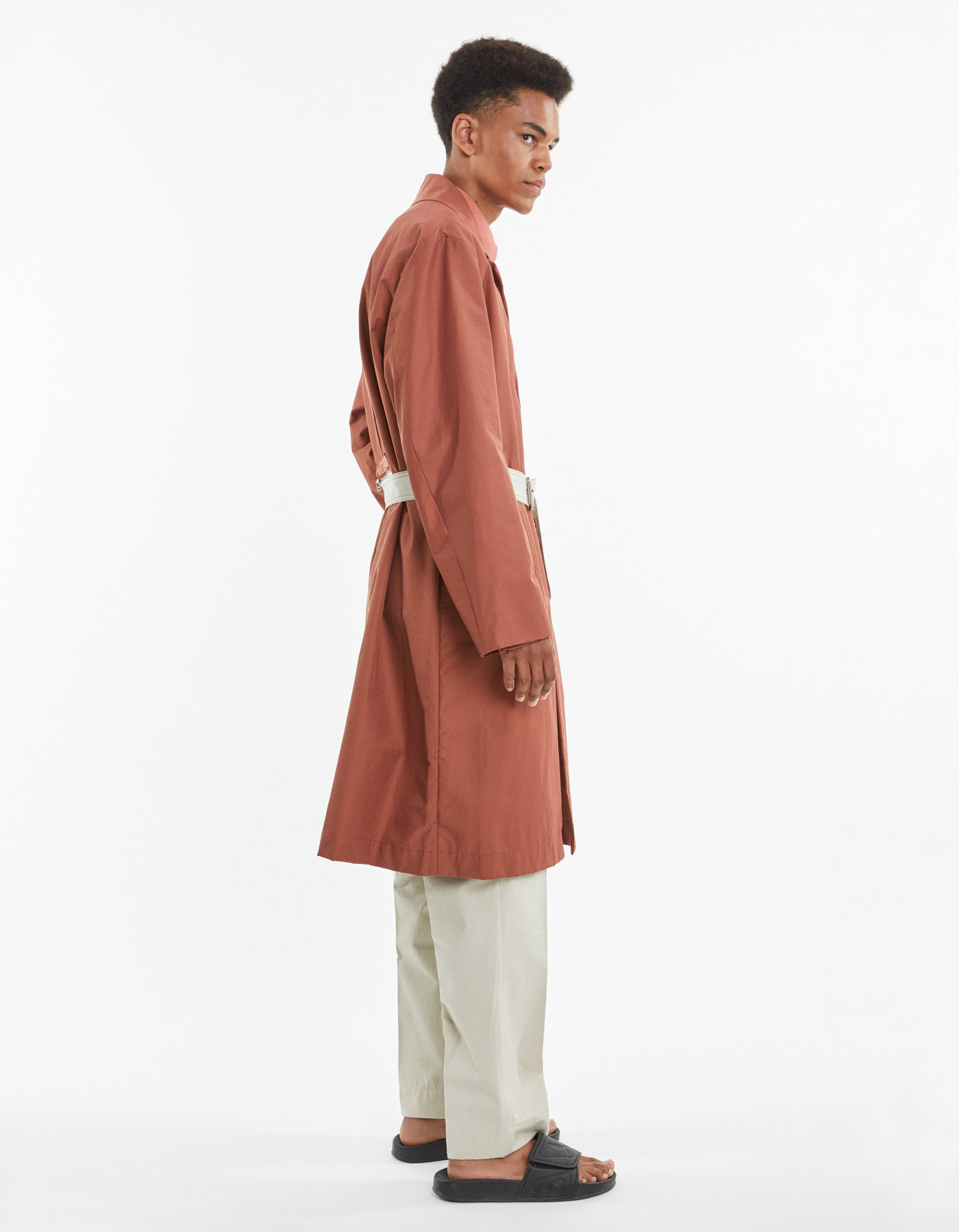 BELTED OVERCOAT BRICK RED