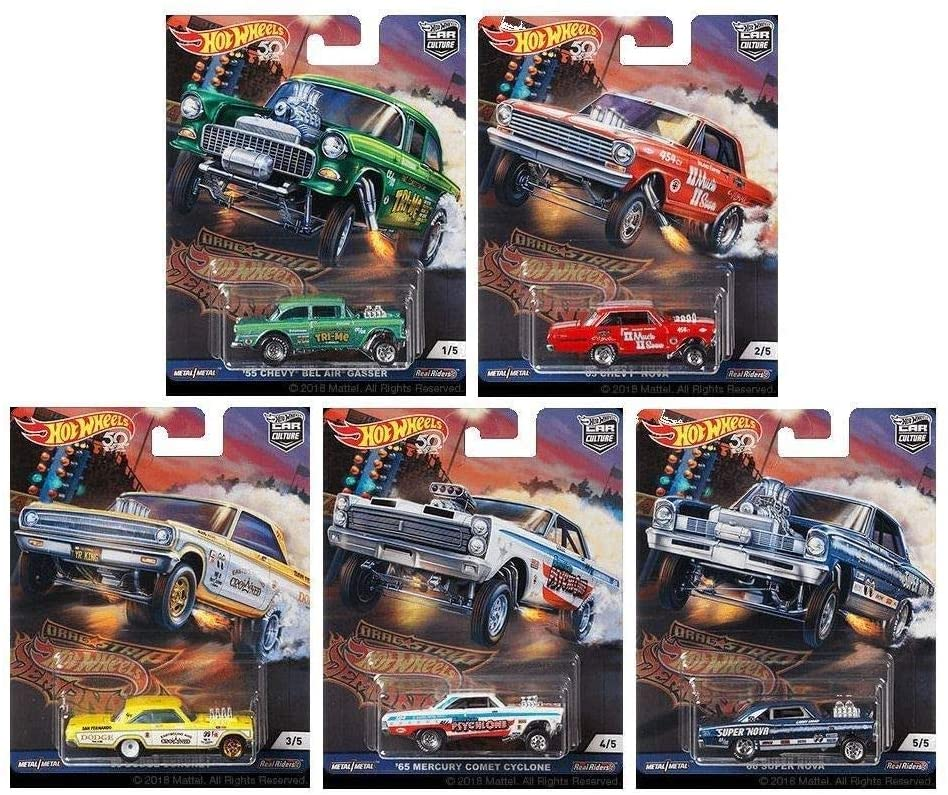 HOT WHEELS (2018) CAR CULTURE DRAG STRIP DEMONS SERIES (1 Set of 5 Cars)