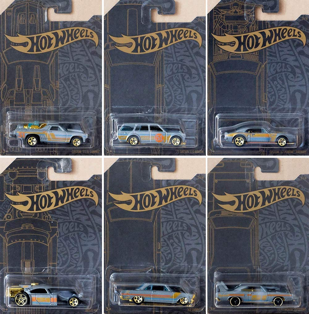 HOT WHEELS (2019) 51st ANNIVERSARY SATIN AND CHROME SERIES (1 Set of 6 Cars)