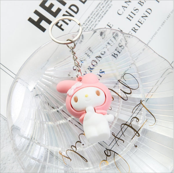Cute Anime Kuromi Melody Hello Kitty Keychain Kawaii Cartoon Big Eared Dog Frog Pudding Dog Penguin Women Bag Pendant Key Chain