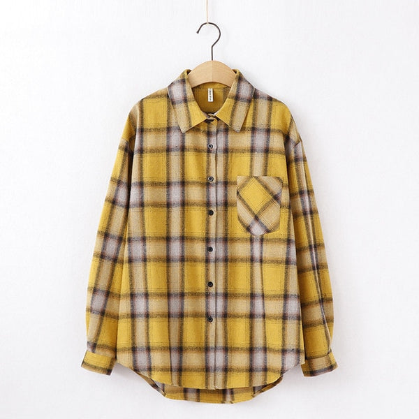 2020 Fashion Women Plaid Shirt Chic Checked Blouse Long Sleeve Female Casual Print Shirts Loose Cotton Tops Blusas