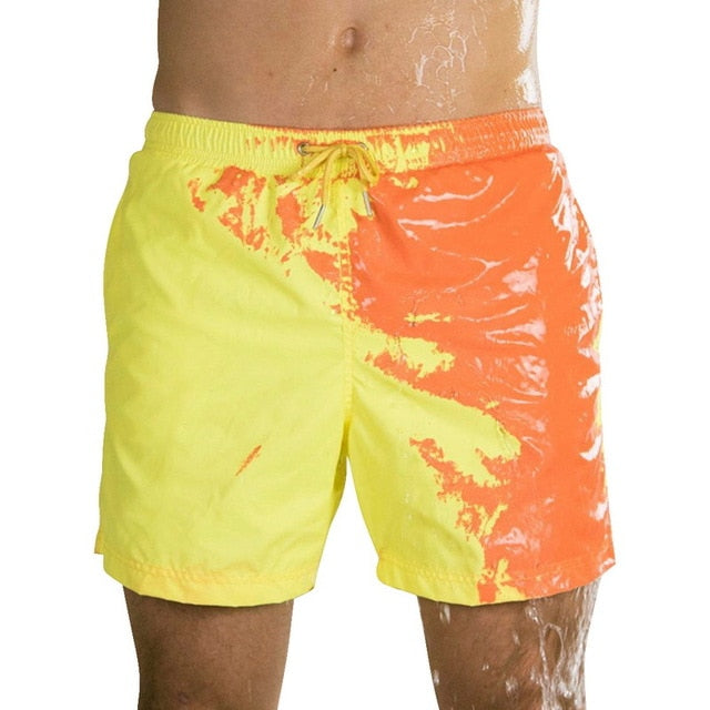2020 Hot Summer Men Swimming Trunks Change Color Beach Shorts 5XL Plus Size Drawstring Quick Drying Bathing Swimwear Short Pants
