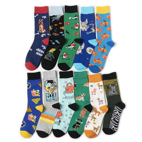 Hrajuku Style Combed Cotton Men's Socks Colorful Cartoon Funny Kawaii Dog Cat Elephant Fish Socks Fashion 2020 Spring Sokken