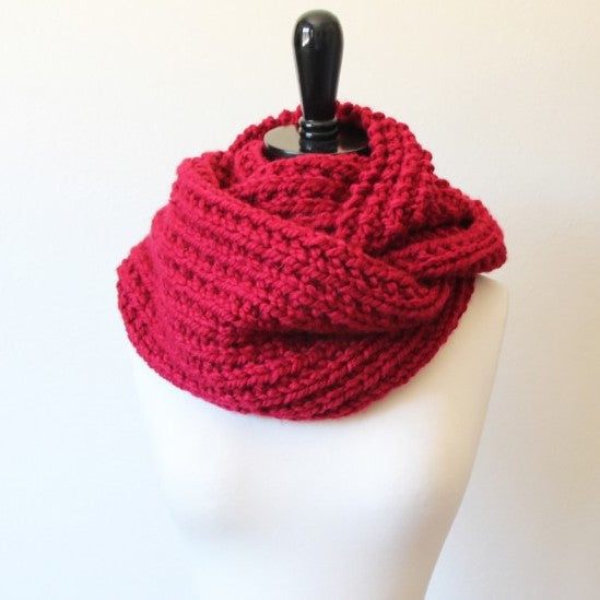 Cozy knit reversible cowl