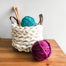 Load image into Gallery viewer, Crocheted rope basket with leather handles
