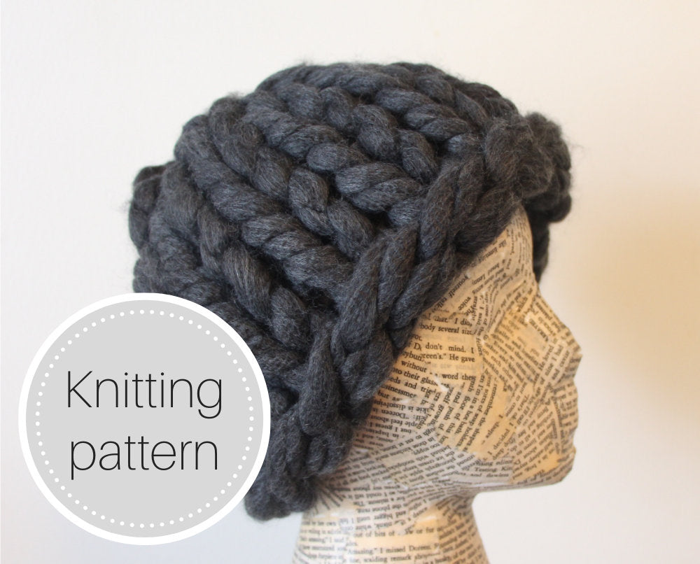 Crazy huge knit hat pattern - digital download