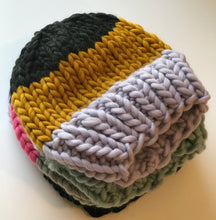 Load image into Gallery viewer, Striped wool hat with optional pom pom