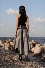 Load image into Gallery viewer, Belted Wrap Pleated Denim Skirt