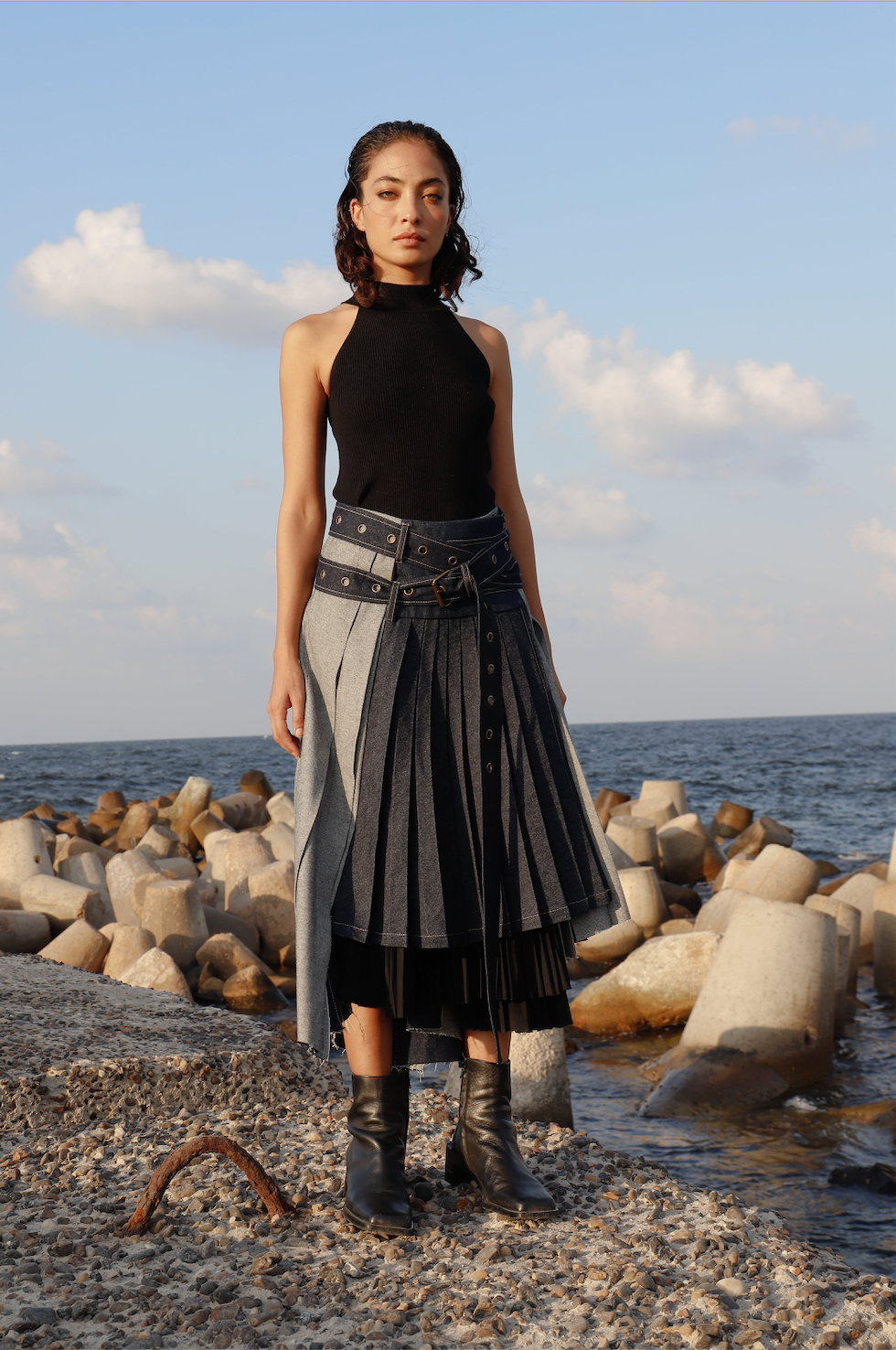 Belted Wrap Pleated Denim Skirt
